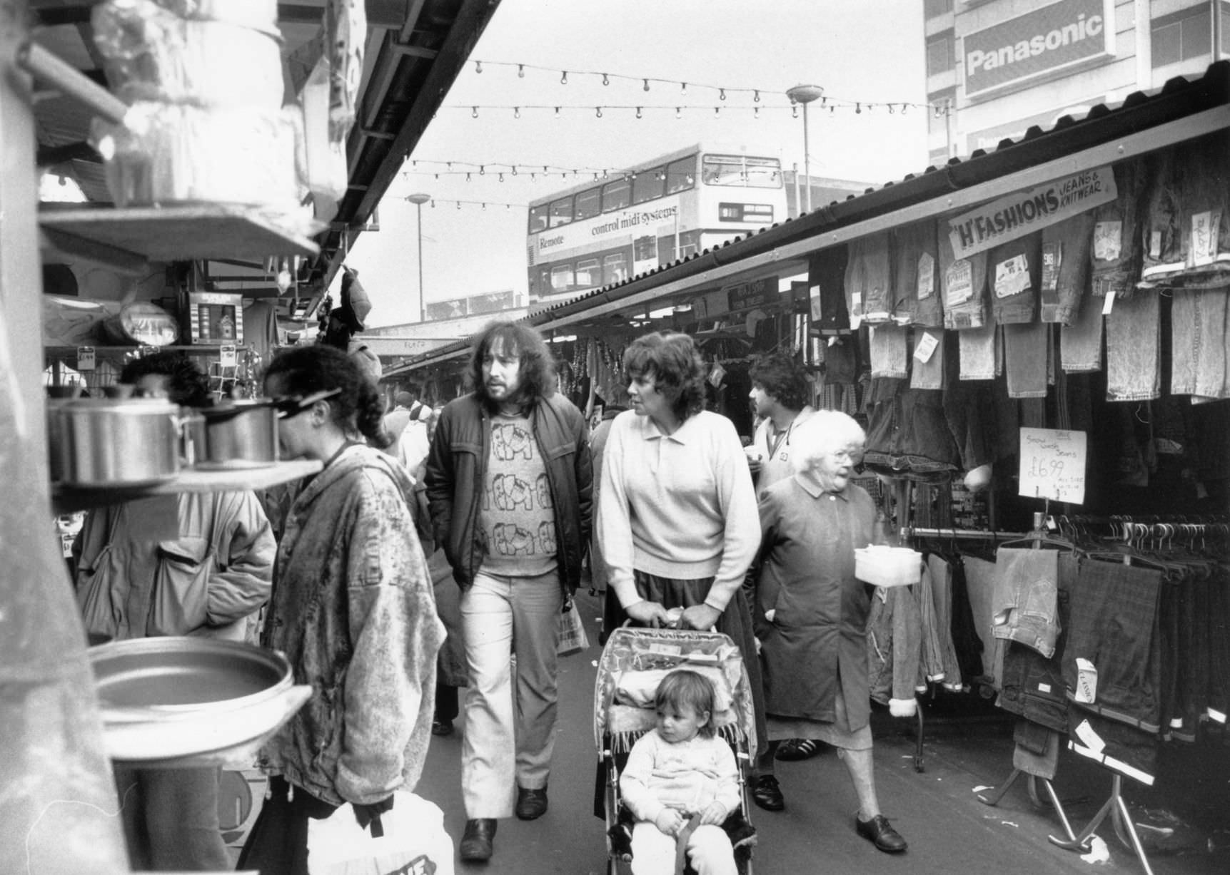 A typical Thursday afternoon in the open air markets in the Bull Ring, 10th December 1987.