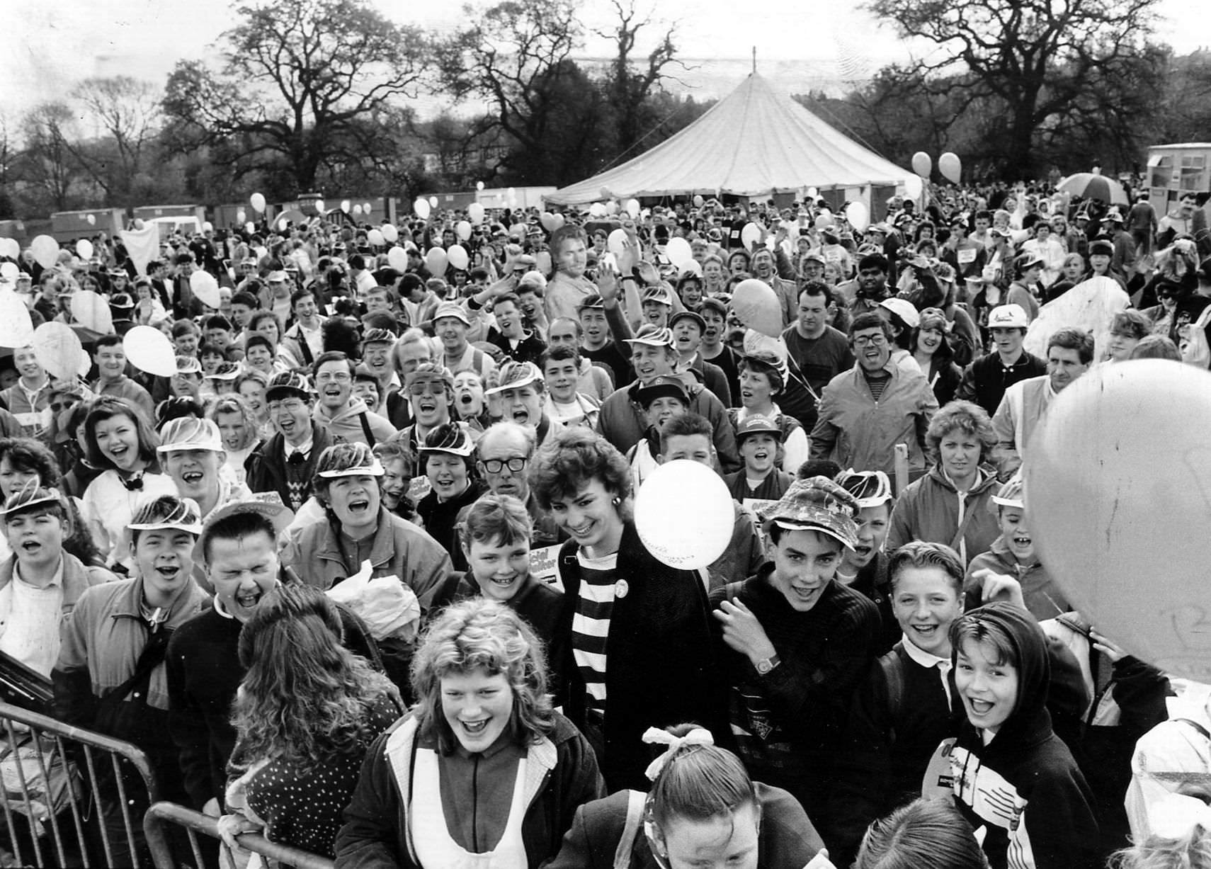 Crowds gather at Sarehole Mill for the start of the Walkathon 30th April 1989.