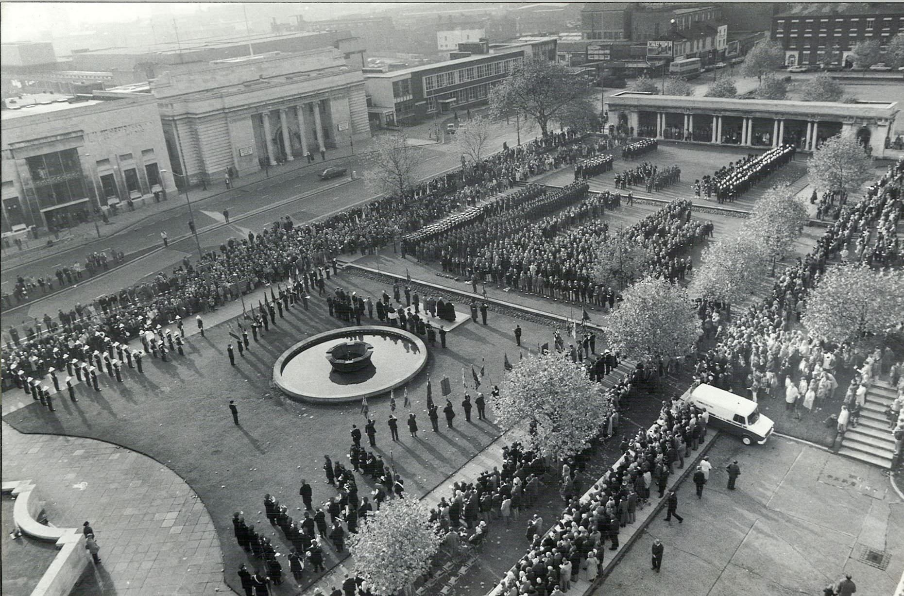 Hundreds of people, including an 80-strong party of sailors from H.M.S. Birmingham, attend the Remembrance Day service at Birmingham Hall of Memory. 6th November 1981.