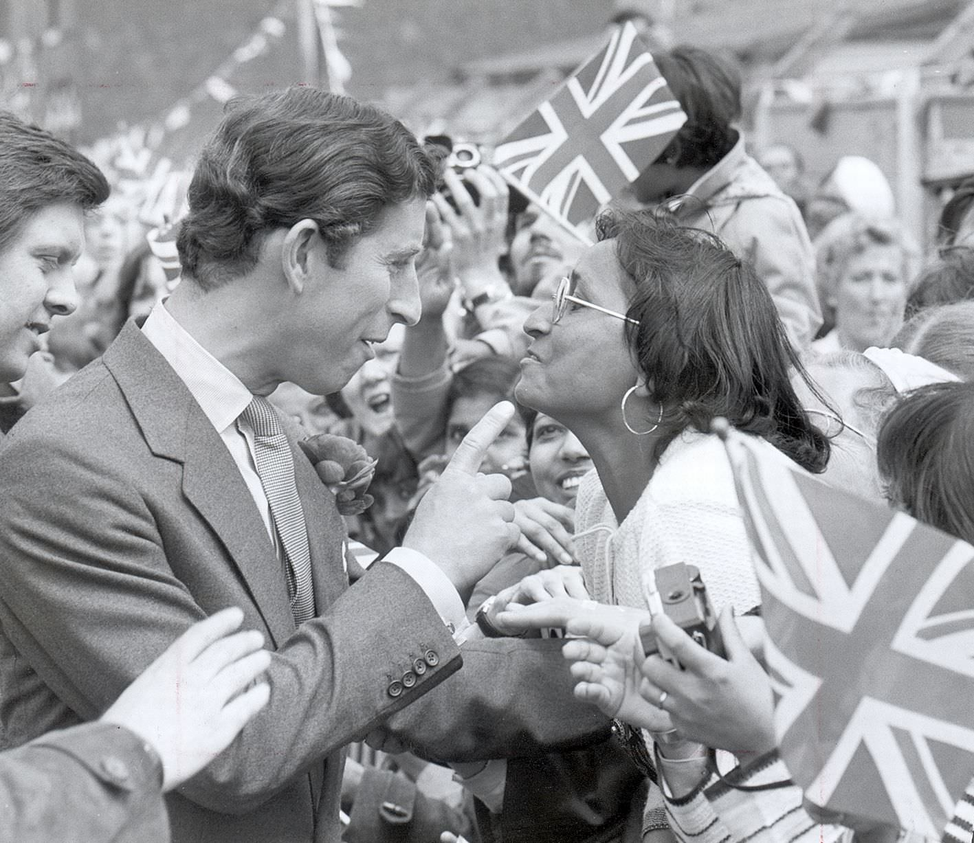 Prince Charles on a visit to Balsall Heath 1980,