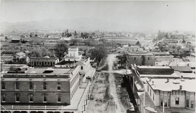 Santa Rosa Avenue from Sonoma County Courthouse roof 1886