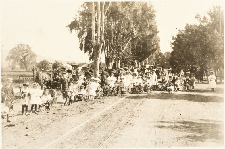 Unidentified group of children on parade 1890