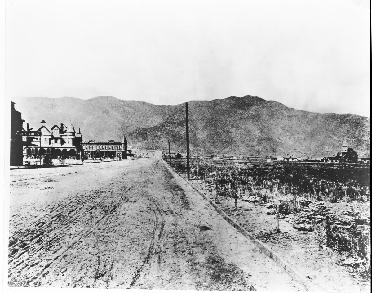 View looking northeast on Olive Street in Burbank, showing the Times building, ca.1898