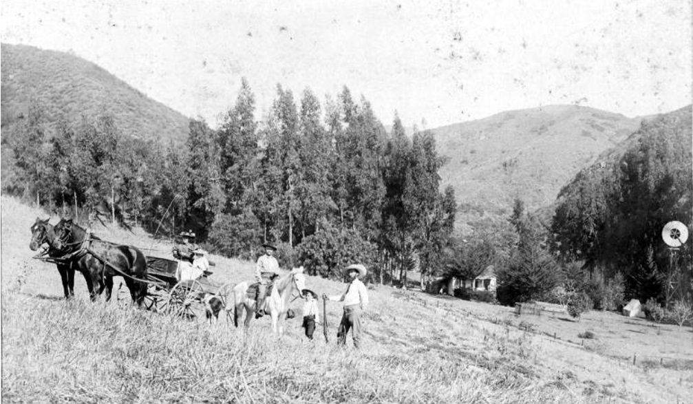 Family members on a farm near Cahuenga Pass, 1890.
