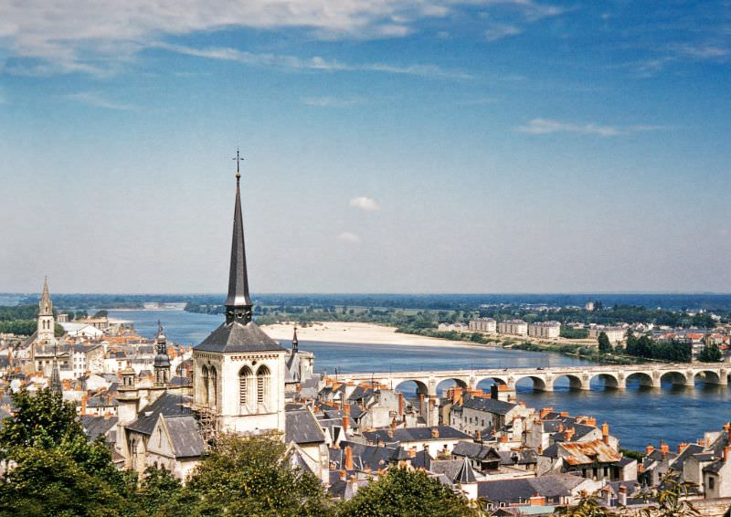 View of the Spire of St Peters Church and the Cessart Bridge from Château de Saumur, Loire Valley, 1958