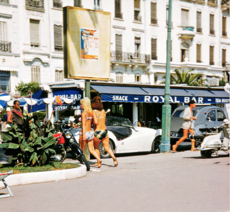 Possibly taken near the Plage Royale. The buildings in the background may have been demolished, Cannes, 1958