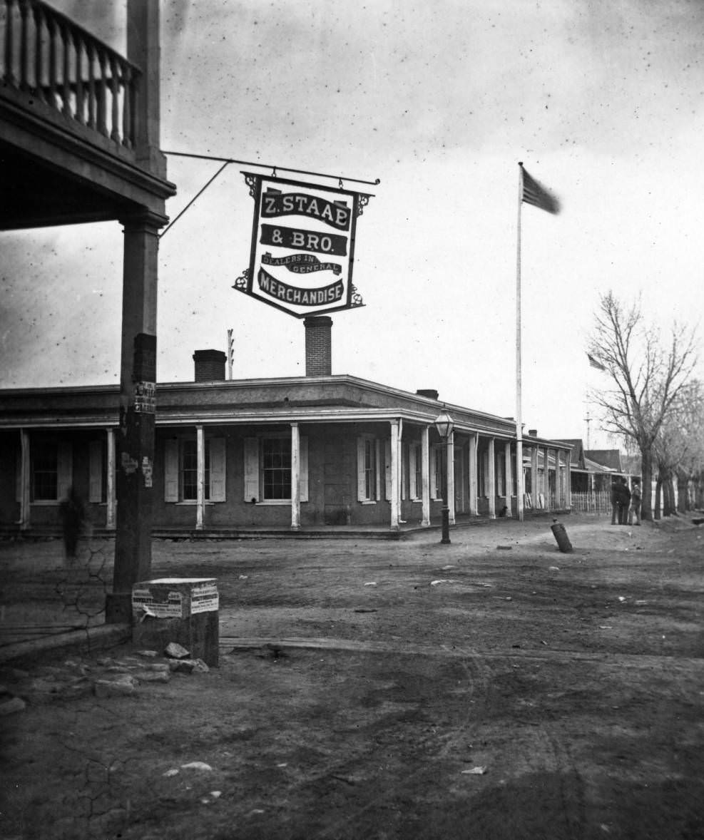 Fort Marcy Headquarters in Santa Fe, New Mexico, 1881.