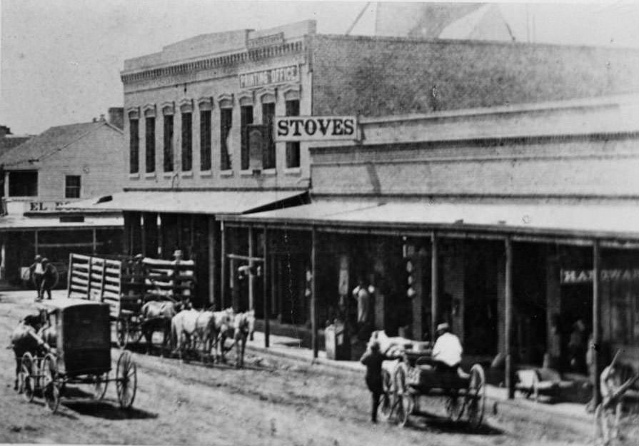 Intersection of First Street and El Dorado Street, 1867