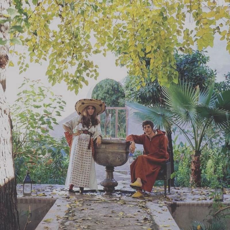 Paul and Talitha Getty by a fountain in their garden in Marrakesh, Morocco, January 15, 1970