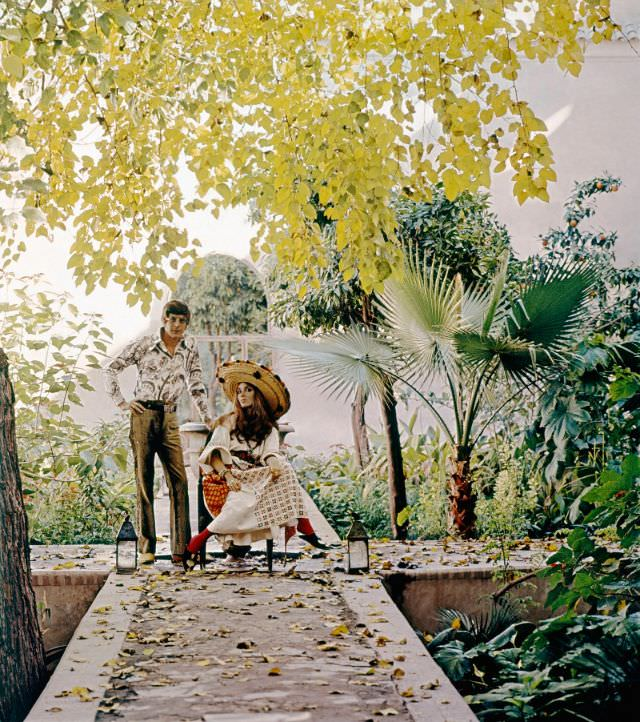 Paul and Talitha Getty in their garden in Marrakesh, Morocco, January 15, 1970