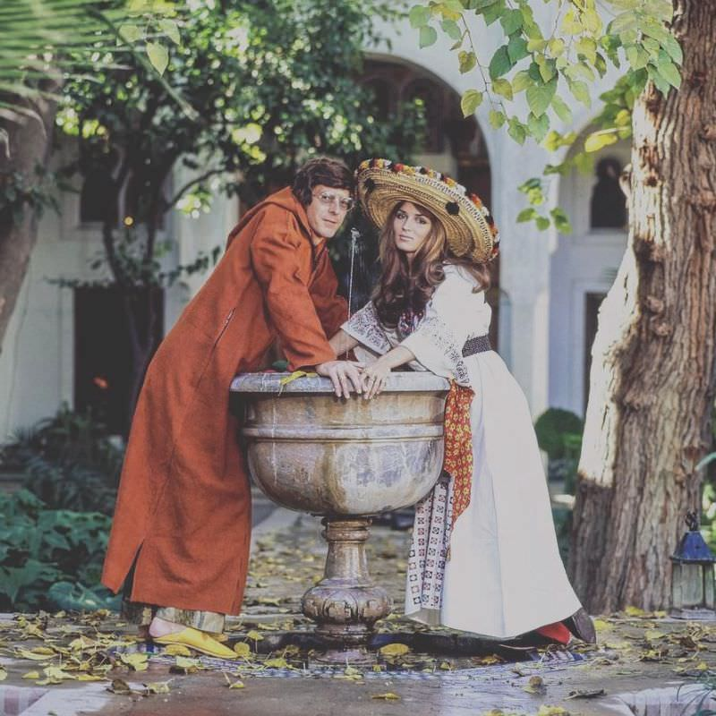Paul and Talitha Getty leaning on a fountain in their garden in Marrakesh, Morocco, January 15, 1970