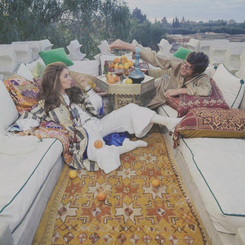 Paul and Talitha Getty on their roof terrace in Marrkesh, Morocco, January 15, 1970