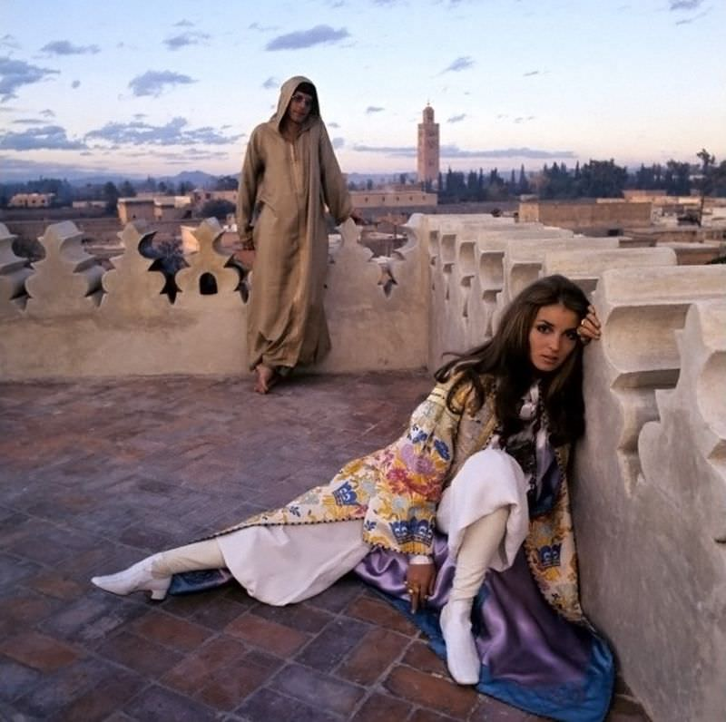 Paul Getty Jr and Talitha Getty on the terrace of their holiday home in Marrakesh, Morocco, January 15, 1970