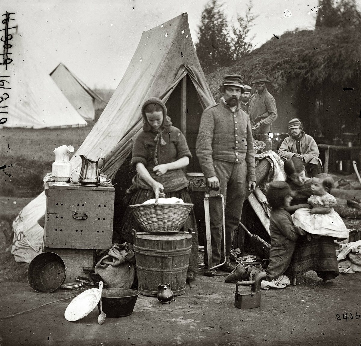 Washington, District of Columbia. Tent life of the 31st (later, 82nd) Pennsylvania Infantry at Queen's Farm, vicinity of Fort Slocum, 1861