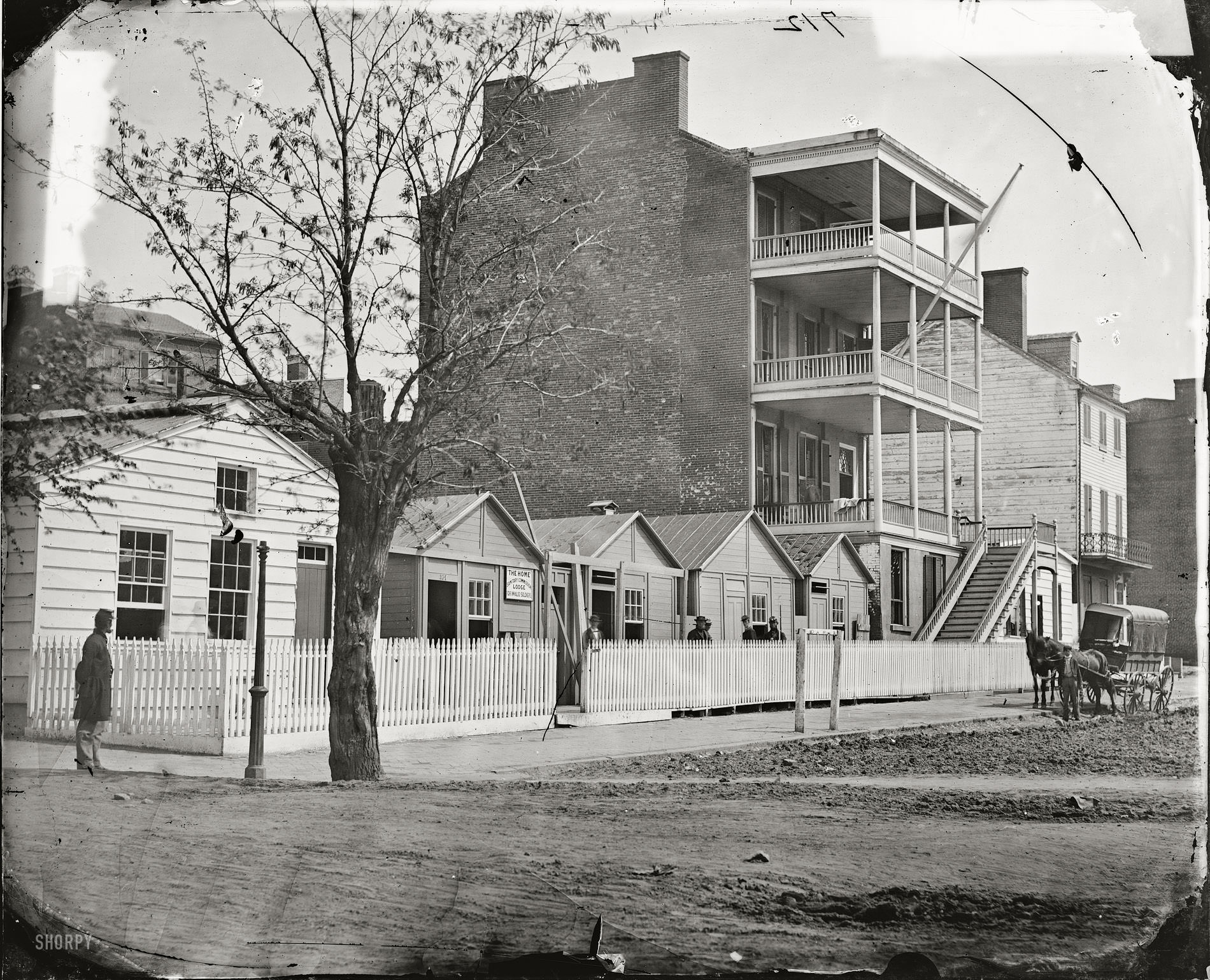 Buildings of the Sanitary Commission Home Lodge for Invalid Soldiers, North Capitol Street near C Street, Washington, D.C., 1865.