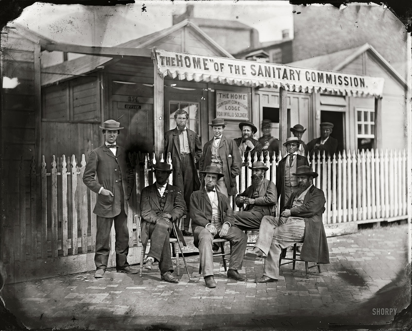 Washington, D.C. Sanitary Commission workers at the entrance of the Home Lodge for Invalid Soldiers, Washington, D.C., 1863.
