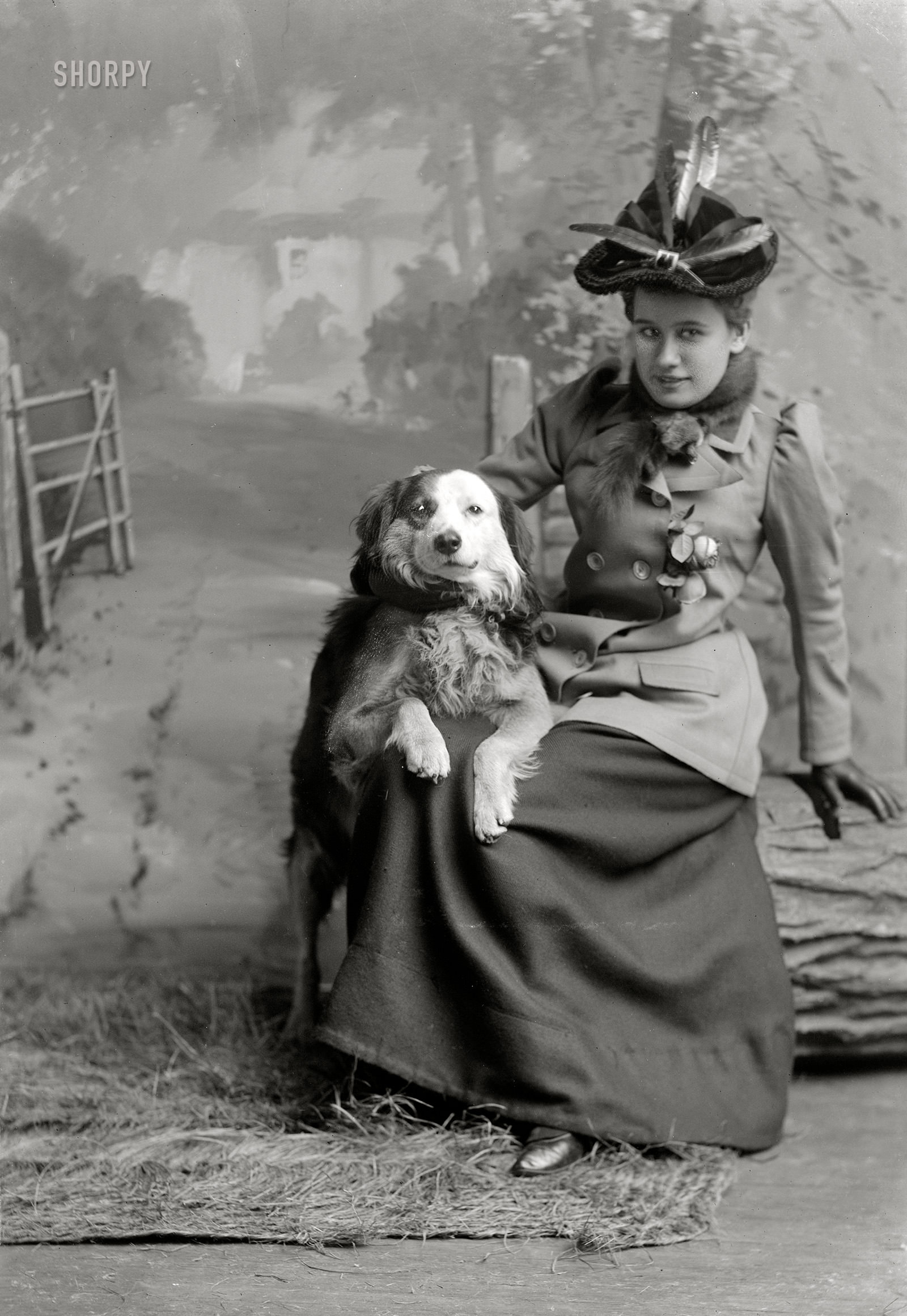 Beall, Nellie and her little dog, 1892