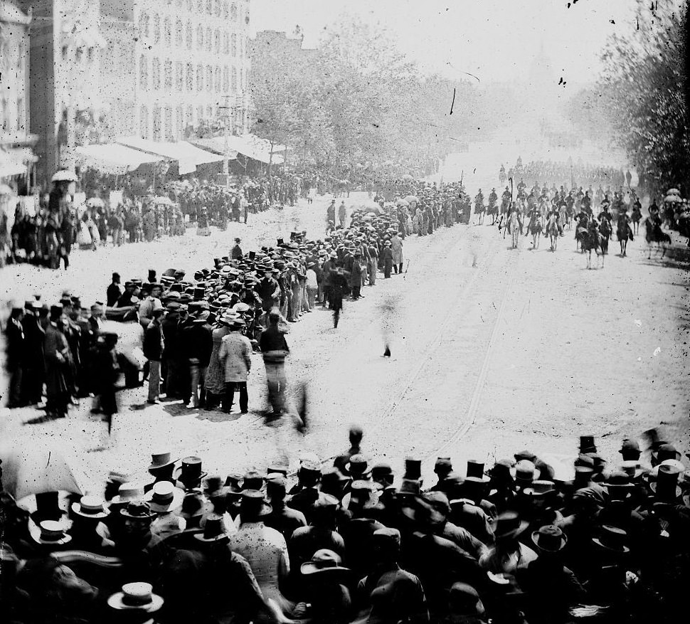 The Grand Review of the Army. as Gen. John A. Logan's 15th Army Corps pass down Pennsylvania Avenue on May, 1865 in Washington, DC.