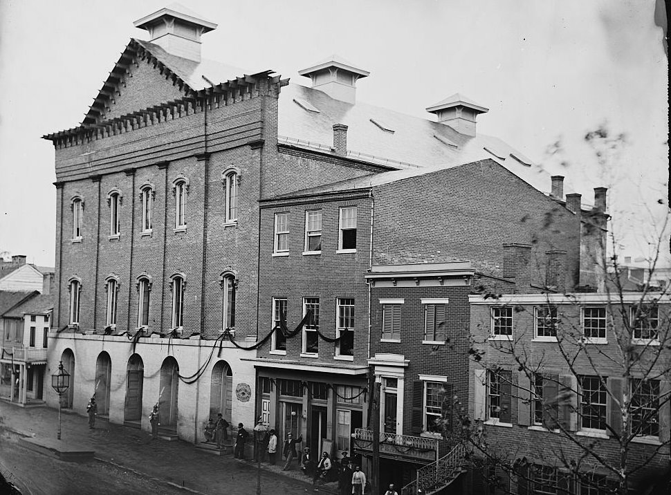 Guards are posted at entrance of Ford's Theater after the assassination of U.S. President Abraham Lincoln April, 1865