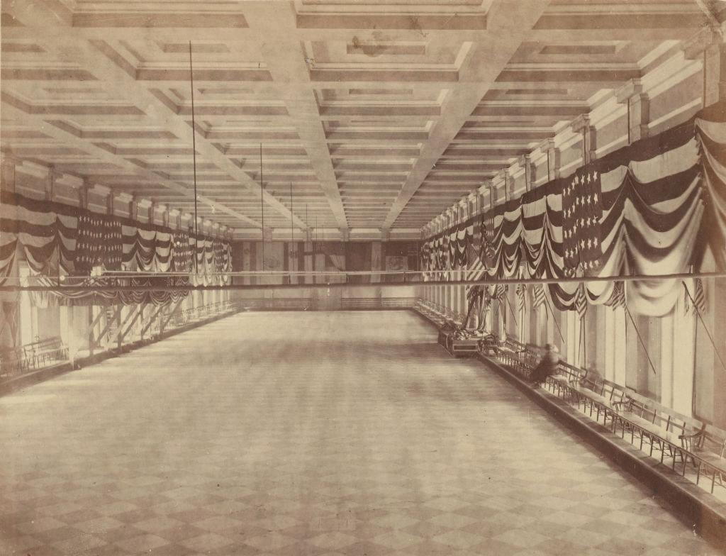 Interior view of The Ballroom for Lincolns Second Inaugural Ball, 1865.