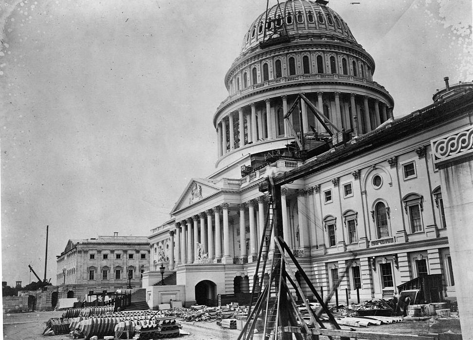 The U. S. Capitol in its last stages of reconstruction. Washington D. C., June 28, 1863.